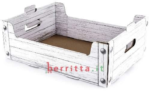 Cesto in cartone stampa legno + confezione regalo